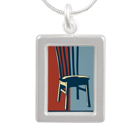 Eastwood And The Chair 2 Silver Portrait Necklace