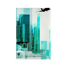 Airplane by city Rectangle Magnet