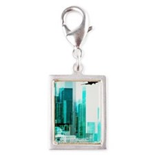 Airplane by city Silver Portrait Charm