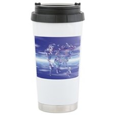 Crystal world map in the blue s Travel Mug