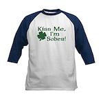 Kiss Me I'm Sober Kids Baseball Jersey