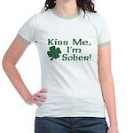 Kiss Me I'm Sober Jr. Ringer T-Shirt
