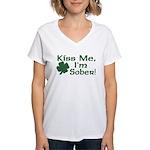 Kiss Me I'm Sober Women's V-Neck T-Shirt