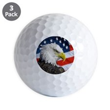 Alaska bald eagle against flag, US. Golf Ball