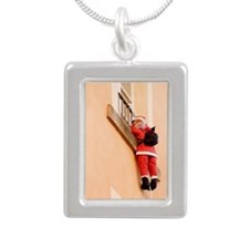 Santa Claus climbing the Silver Portrait Necklace
