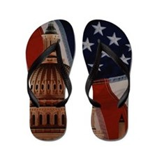 Capitol Building and American flag Flip Flops