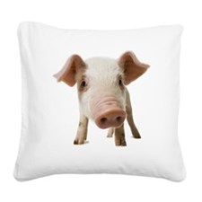 Pig face and snout close up Square Canvas Pillow