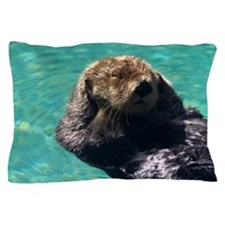 Sea otter floating in the water Pillow Case