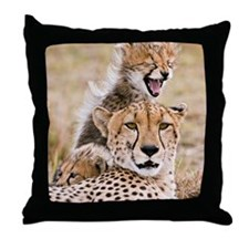 Cheetah and young cubs in forest at M Throw Pillow