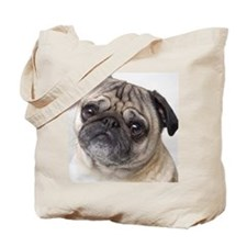 Close up of the face of a pug dog Tote Bag