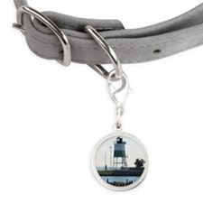 Lake Michigan Lighthouse Small Round Pet Tag