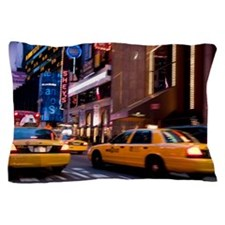 Traffic at night in Times Square, New  Pillow Case