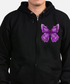 Awareness Butterfly Zip Hoodie