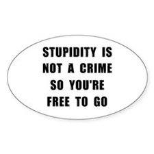 Stupidity Oval Decal