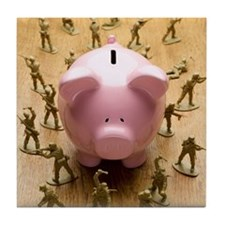 Toy army men surrounding piggy bank Tile Coaster