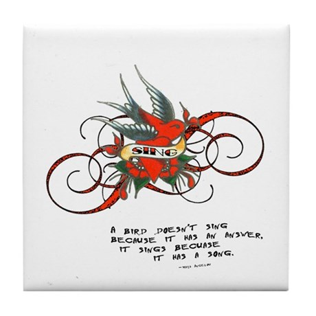 Bird Song Tattoo Tile Coaster