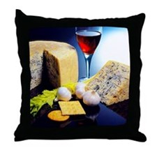 Close-up of a glass of red wine and s Throw Pillow