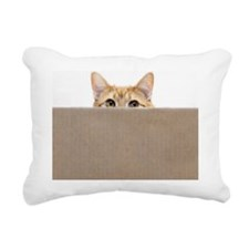 Orange cat peeping out f Rectangular Canvas Pillow