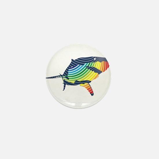 great white rainbow shark Mini Button