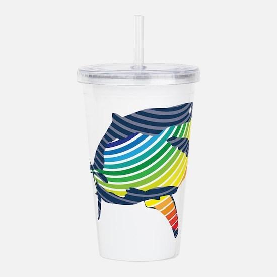 great white rainbow shark Acrylic Double-wall Tumb