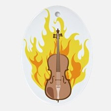 Flaming-Double-Bass-02 Oval Ornament