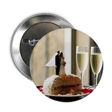 "Bride and groom cake toppers on slice 2.25"" Button"
