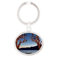 Plane trees during christmas time in Oval Keychain