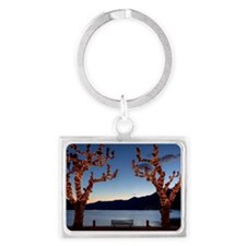 Plane trees during christmas ti Landscape Keychain