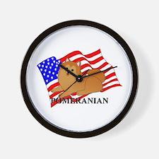 Pomeranian USA Wall Clock