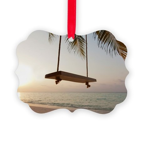 Swing on a beach at sunset Picture Ornament