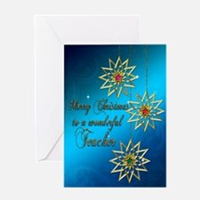 A blue Christmas card for a wonderful teacher. Gre