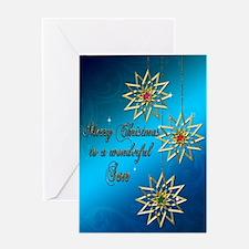 A blue Christmas card for a wonderful son. Greetin