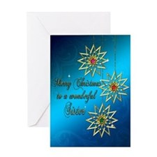 A blue Christmas card for a wonderful sister. Gree