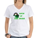 Luck O' the Irish Women's V-Neck T-Shirt