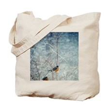 Robins in winter Tote Bag
