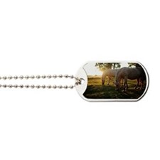 Fjord horses grazing Dog Tags