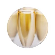 """close-up of four champagne flutes 3.5"""" Button"""