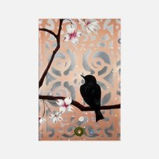 Elegant Dogwoods on Peach and Sil Rectangle Magnet