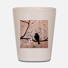 Elegant Dogwoods on Peach and Silver Shot Glass
