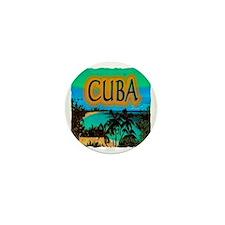 cuba beach art illustration Mini Button