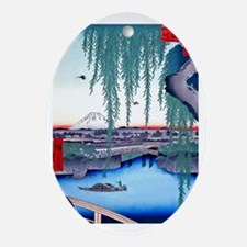 Yatsumi-no Hashi Bridge-Mt. Fuji Hir Oval Ornament