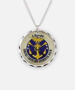 uss plymouth rock patch tran Necklace