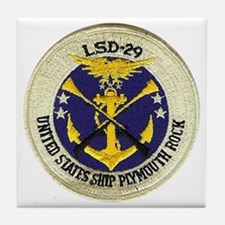 uss plymouth rock patch transparent Tile Coaster