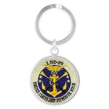uss plymouth rock patch transparent Round Keychain