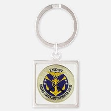 uss plymouth rock patch transparen Square Keychain