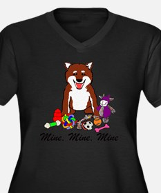 Shiba Mine Women's Plus Size Dark V-Neck T-Shirt