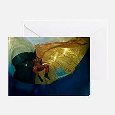 Parachute water landing training Greeting Card