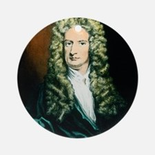 Coloured engraving of Isaac Newton Round Ornament
