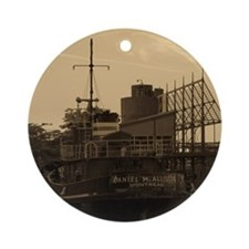 Daniel McAllister Tugboat Round Ornament