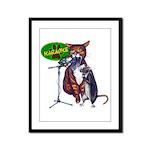 Karaoke Cat, Rat, Frog Framed Panel Print